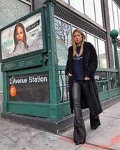 pants,leather pants,flare pants,black boots,black coat,long coat,sweatshirt,balenciaga