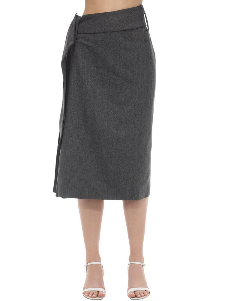 ROKH Side Pleated Wool Blend Midi Skirt in grey