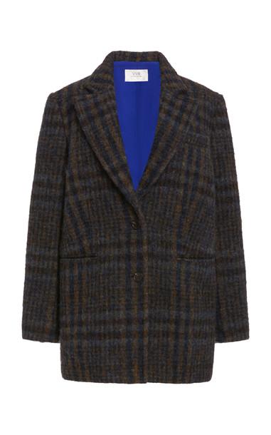 Victoria Victoria Beckham Checked Wool Coat in brown