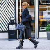 shoes,black boots,combat boots,black coat,black bag,black shorts,black blazer