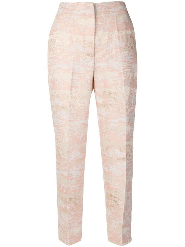 Blugirl embroidered fitted trousers in pink