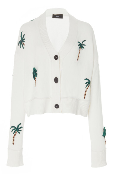 Alanui Palm Tree Embroidered Cardigan in white