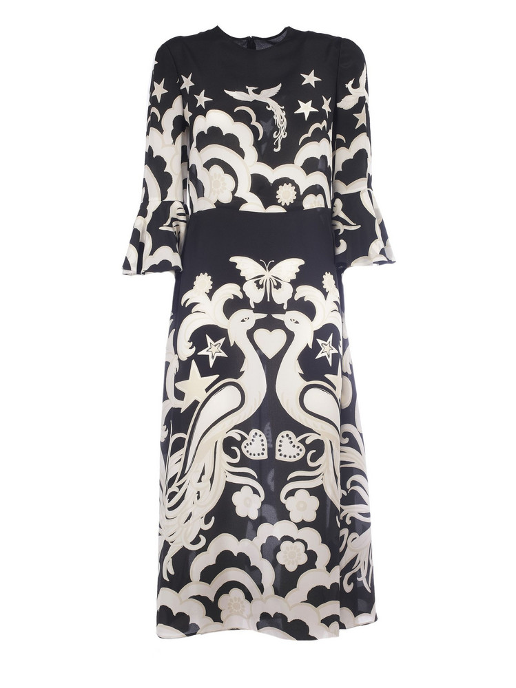 Valentino Fantasy Long Dress With Sleeves in black / ivory