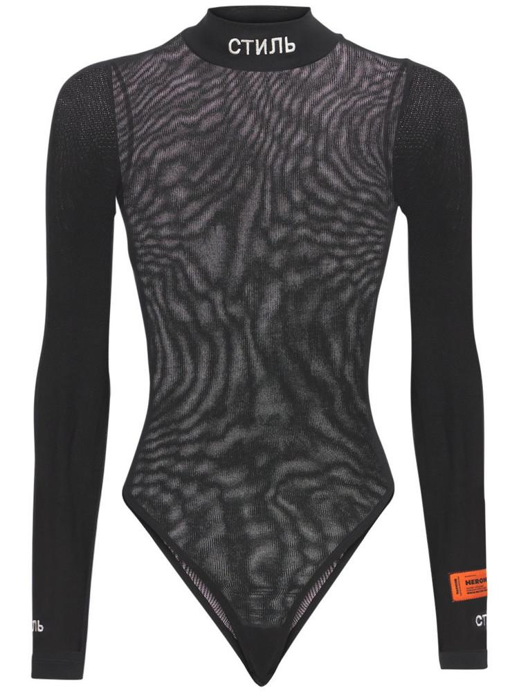 HERON PRESTON Ctnmb Viscose Knit Bodysuit in black