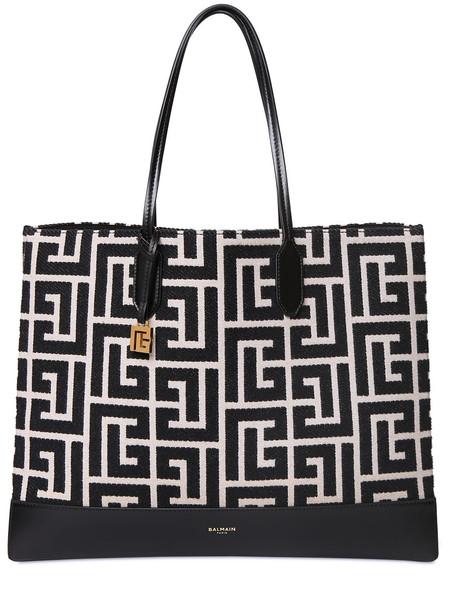 BALMAIN Maxi Monogram Jacquard Tote Bag in black / ivory