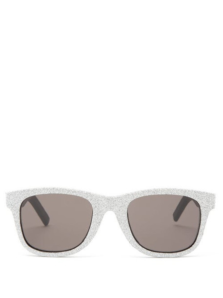 Saint Laurent - Glittered Square Leather Sunglasses - Womens - Silver