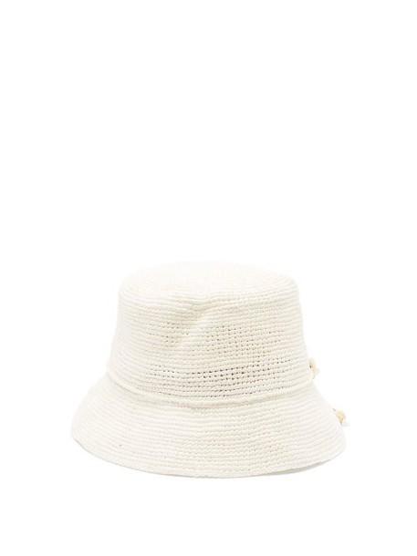 Sensi Studio - Hippie Shell Embellished Straw Hat - Womens - White