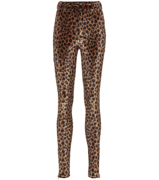The Attico Leopard-print stretch-velvet pants in brown