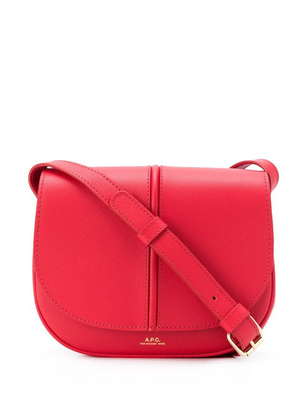 A.P.C. logo print foldover top satchel bag in red