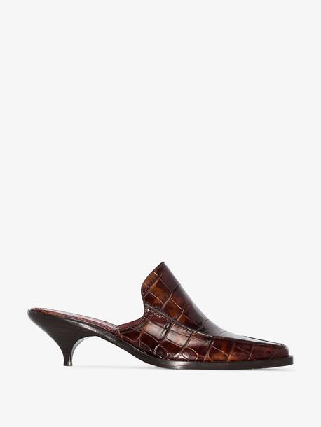 Sies Marjan brown kaya 50 croc embossed leather mules