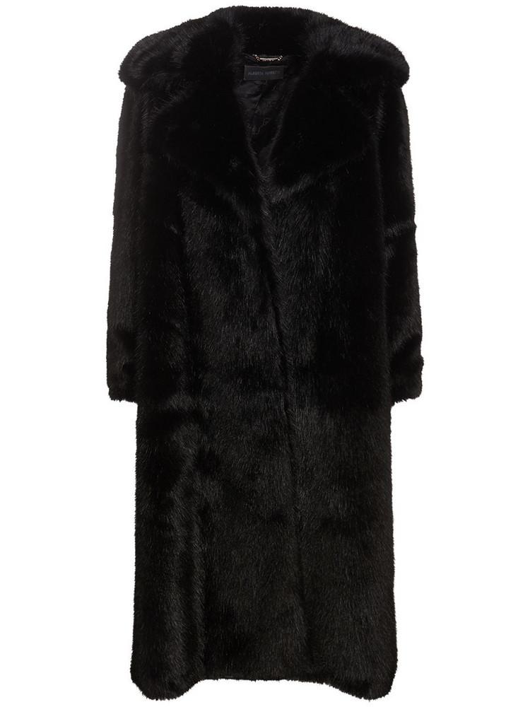 ALBERTA FERRETTI Faux Fur Long Coat in black