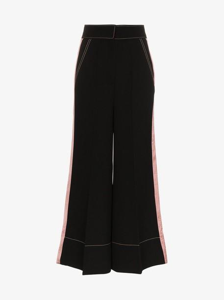 Roksanda Hasani wide leg contrasting stripe trousers in black