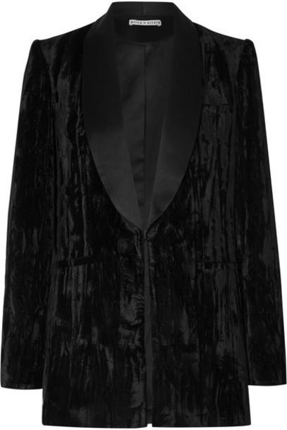 Alice + Olivia Alice Olivia - Macey Satin-trimmed Crushed-velvet Blazer - Black