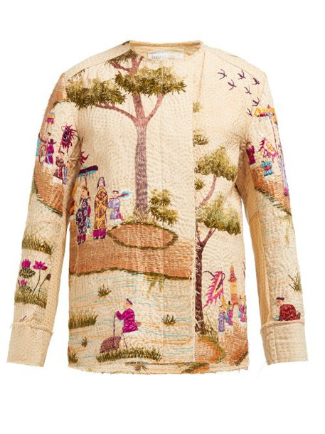 By Walid - Maya Embroidered Cotton Canvas Jacket - Womens - Multi
