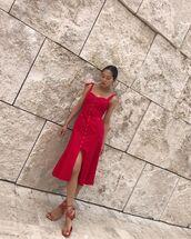 dress,midi dress,red dress,sleeveless dress,flat sandals