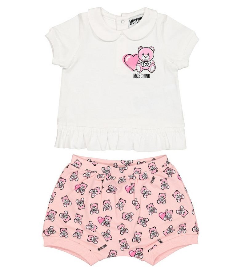 Moschino Kids Baby stretch-cotton T-shirt and shorts set in pink