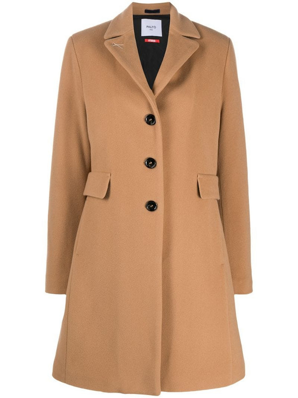 Paltò single-breasted tailored coat in brown