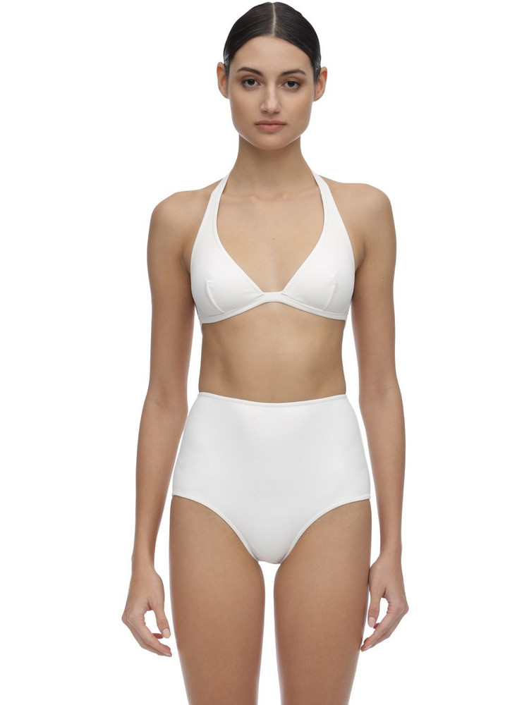LAURA URBINATI High Waist Lycra Bikini in white
