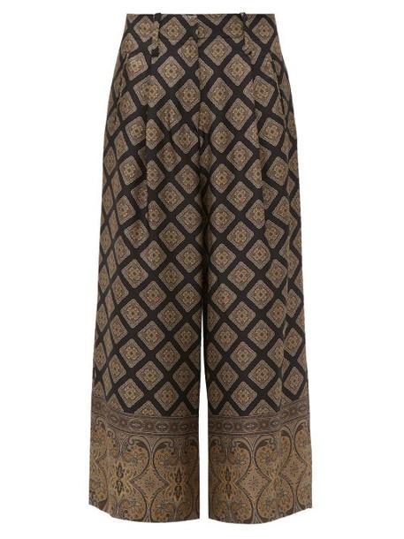 Etro - Kent Print Silk Wide Leg Trousers - Womens - Black Multi