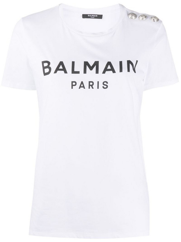 Balmain logo print T-shirt in white