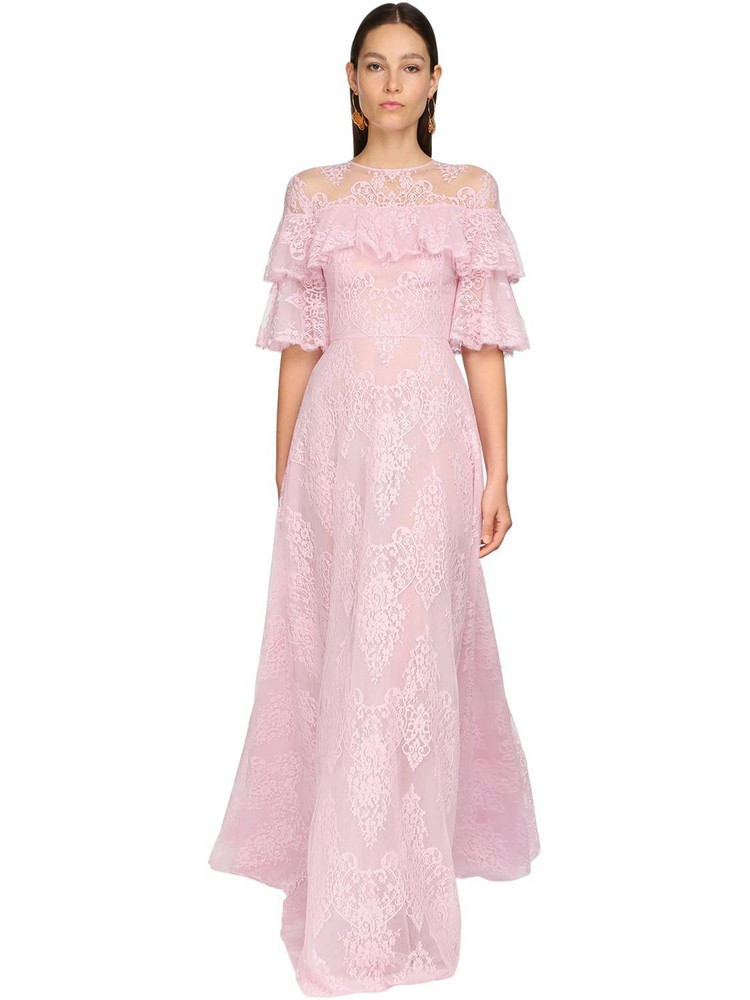 ZUHAIR MURAD Embroidered Tulle & Lace Long Dress in pink