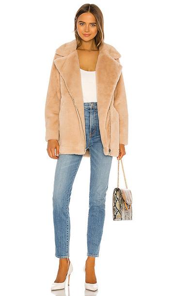 Apparis Rose Faux Fur Coat in Tan