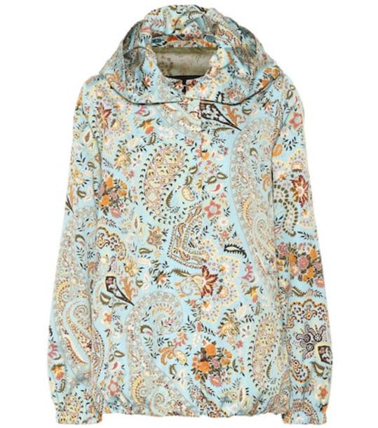Etro Printed hooded jacket in blue