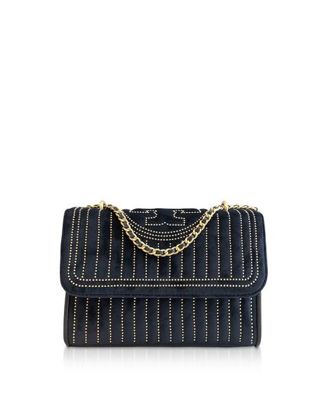 Tory Burch Fleming Mini Studs Velvet Small Convertible Shoulder Bag in blue