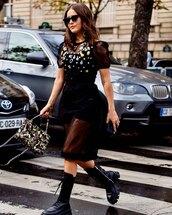 shoes,knee high boots,prada,midi dress,black dress,bag