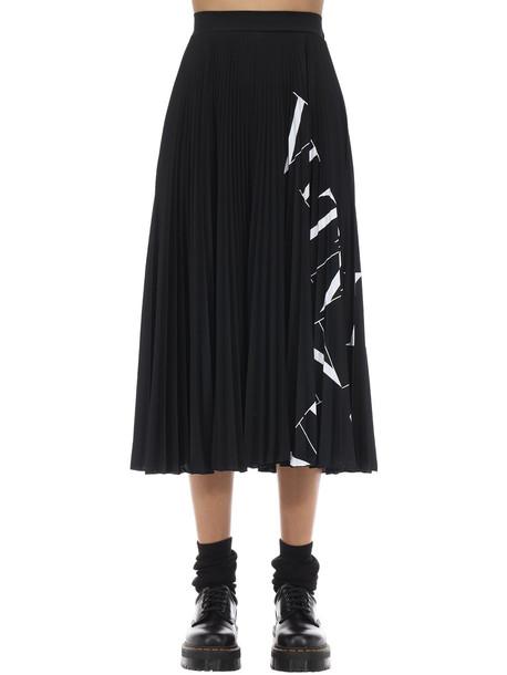 VALENTINO Vltn Print Pleated Jersey Midi Skirt in black / white