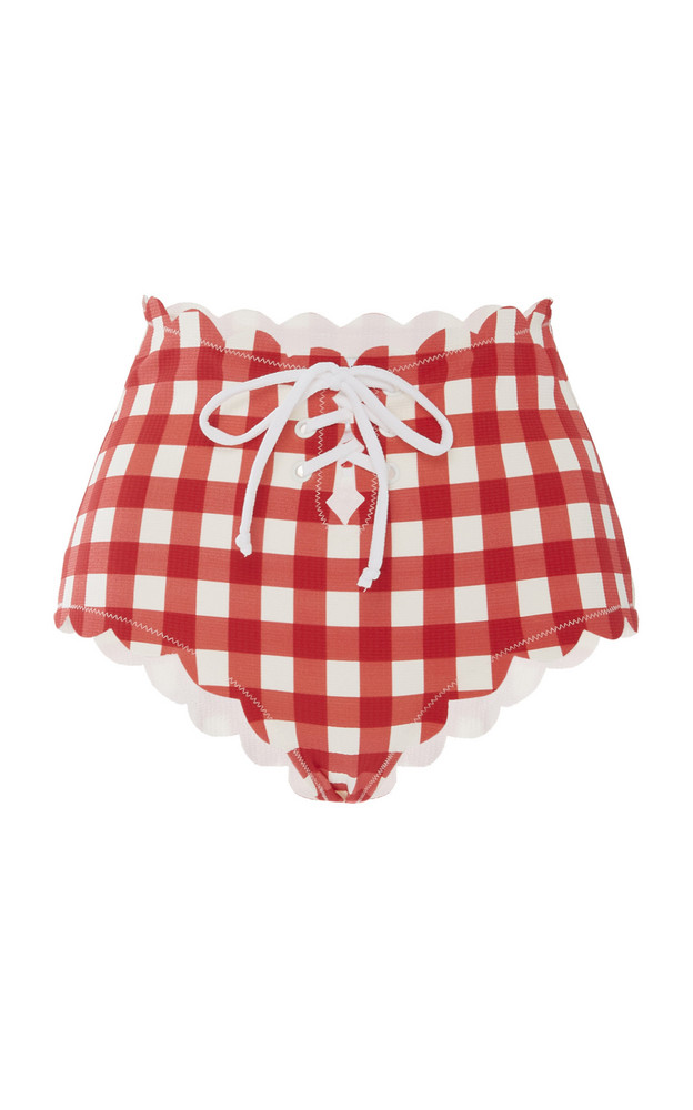 Marysia Swim Riviera Tie-Detailed Scalloped Gingham Bikini Briefs in red