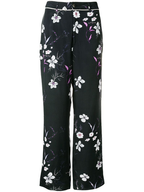 Closed floral print trousers in black