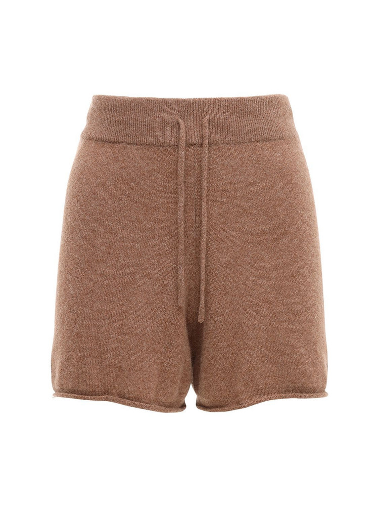 LOULOU STUDIO Robben Cashmere Knit Shorts in brown