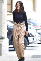 pants,fall outfits,katie holmes,celebrity,top,fashion week