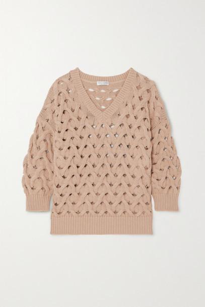 Brunello Cucinelli - Cable-knit Cotton-blend Sweater - Beige