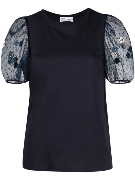 RED Valentino embroidered flower sheer puff sleeve top in blue