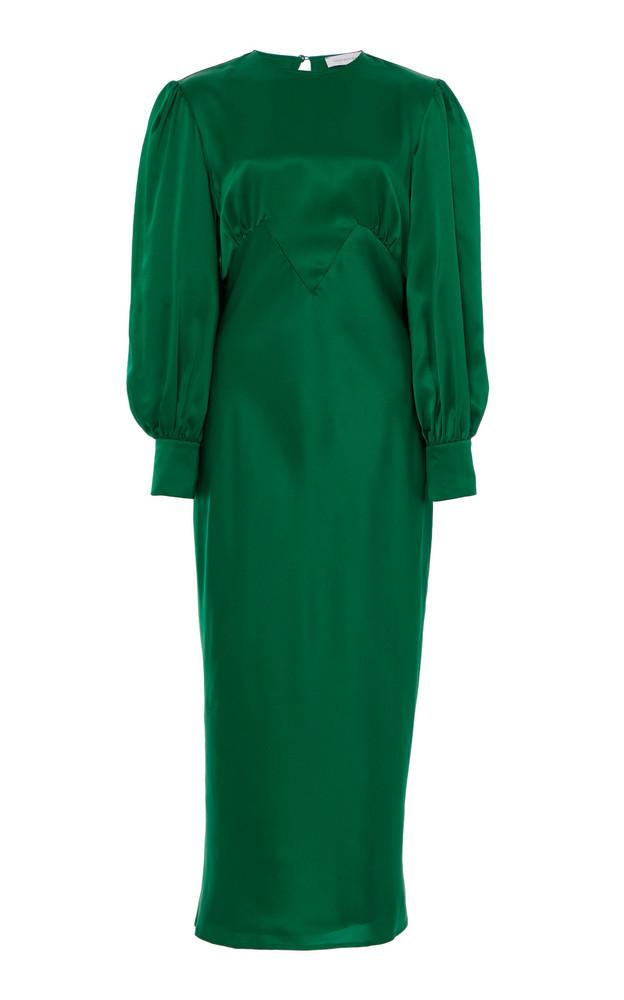 Olivia von Halle Aureta Silk-Satin Midi Dress in green