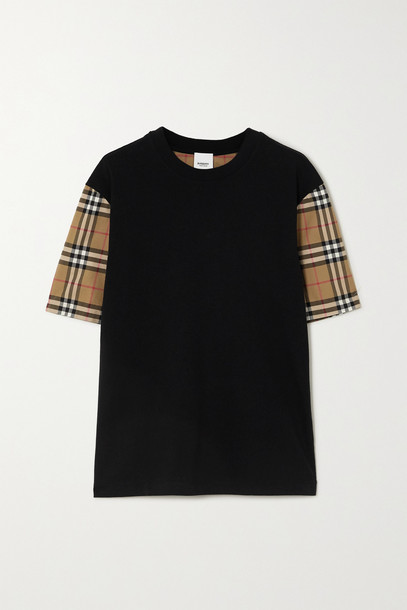 BURBERRY - + Net Sustain Checked Poplin And Cotton-jersey T-shirt - Black