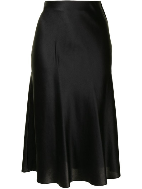 Dannijo high-waisted silk midi skirt in black