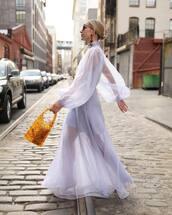 dress,maxi dress,lilac,long sleeve dress,handbag,atlantic pacific