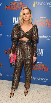 top,gold,sequins,crop tops,pants,high waisted,brie larson,celebrity