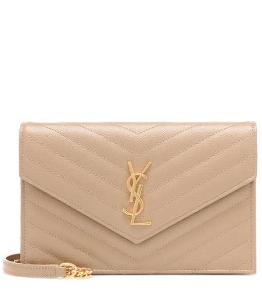 Saint Laurent Monogram Envelope shoulder bag in beige