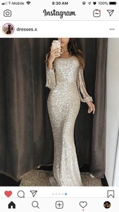 dress,silver,glitter,fringe sleeves,long sleeves,mermaid,gown,mermaid gown,silver dress,cute dress,sequins,long,silver gown,pretty