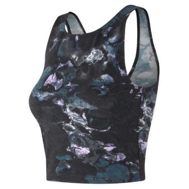 New Balance 91471 Women's Printed Evolve Crop Tank - Purple/Black (WT91471VLP)