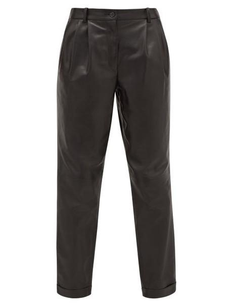 Nili Lotan - Montana Pleated Leather Trousers - Womens - Black