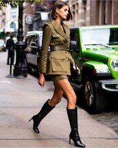 skirt,mini skirt,army green jacket,knee high boots,black boots,belt,black bag