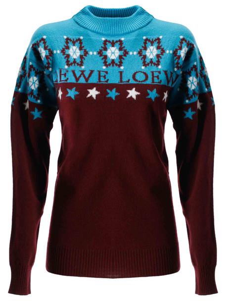 Loewe Snowflake Sweater in blue / burgundy