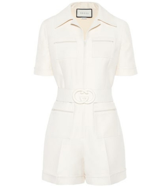 Gucci Wool and silk playsuit in white