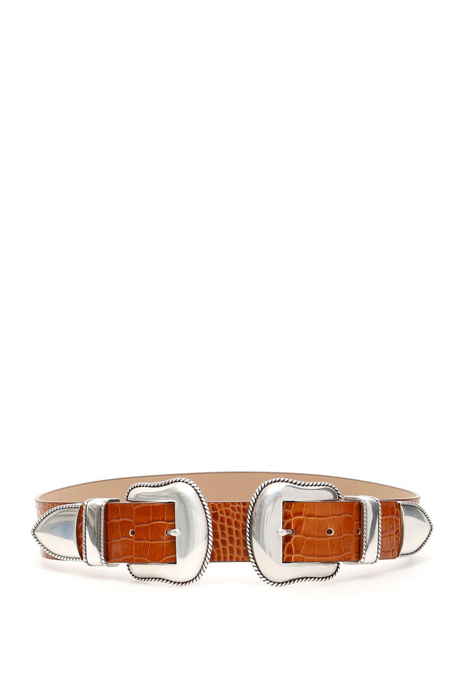 B-Low the Belt Rouge Croco Belt With Double Buckle in brown / silver