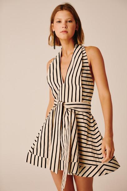 C/MEO COLLECTIVE HIGH AS HOPE DRESS ecru stripe